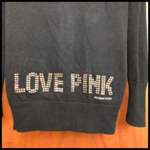 """Love Pink"" Studded Black Cotton Cardigan Sweater"